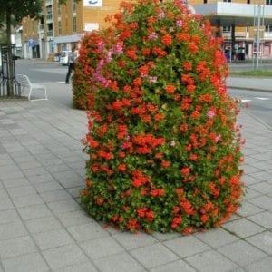 Blomsterampel, blomstertårn, blomsterbøtte