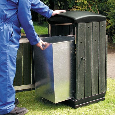Enviropol 100 - Avfallsbeholder på 100l i resirkulert plast, innerbøtte i metall