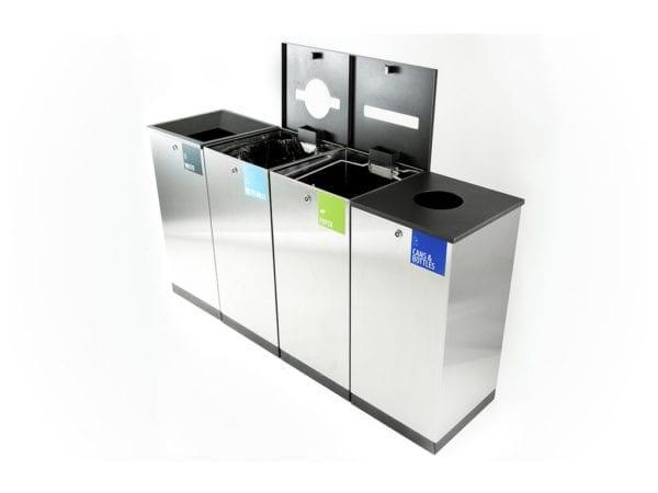 Finbin Edge - Avfallsbeholder i metall, system for kildesortering