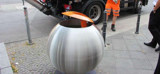 Bubble - Avfallsbeholder med stor kapasitet 360l og 600l, i metall. Enkel tømming