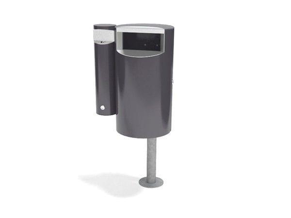 City 30 Combi - Avfallsbeholder på 30l med askebeger, montert på stolpe